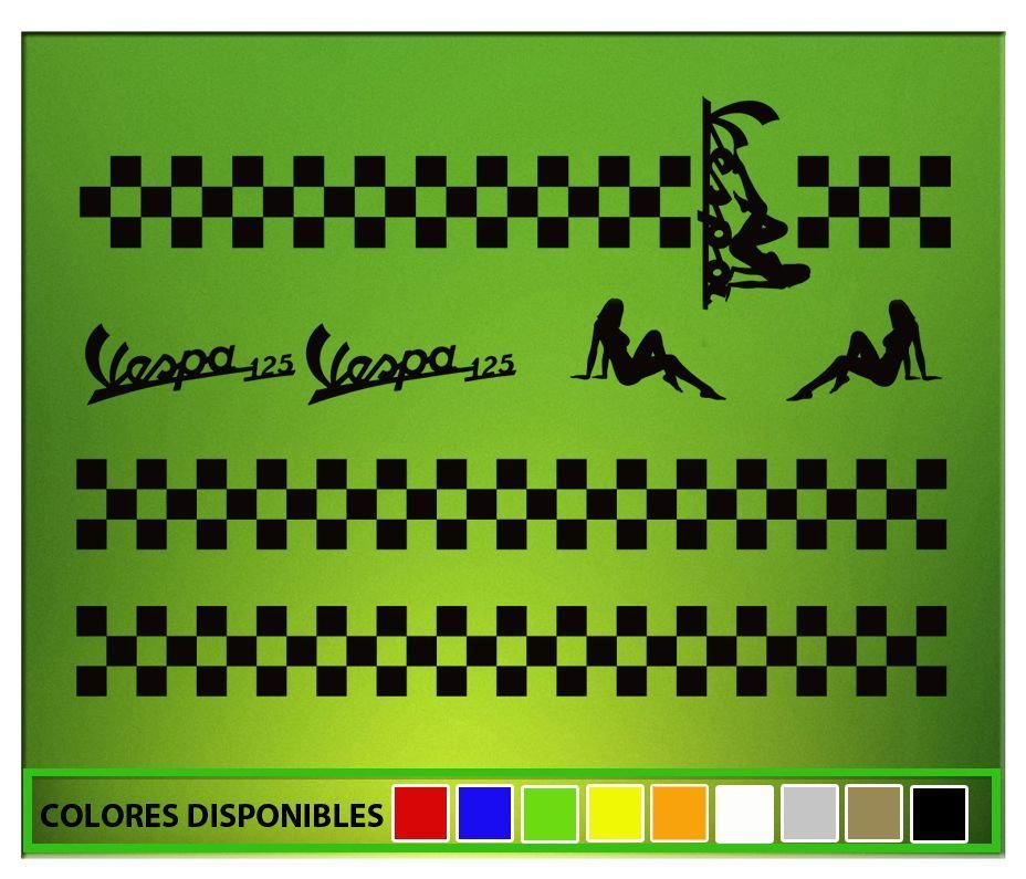 Stickers Vespa Damero Elx60 Flag Frames Aufkleber Autocollant Adesivi Racing