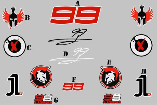 Pegatinas 99 ESPARTANOS//Spartans Lorenzo Moto GP ECO33 Stickers AUFKLEBER VINILOS ADESIVI
