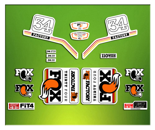 STICKERS FORK FACTORY FOX 34 2016 ELX09   AUFKLEBER AUTOCOLLANT ADESIVI BICICLETA CYCLE MTB BIKE