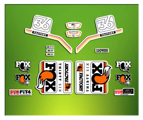 STICKERS FORK FACTORY FACTORY FOX 36 2016 ELX10  ADESIVI BICICLETA CYCLE MTB BIKE