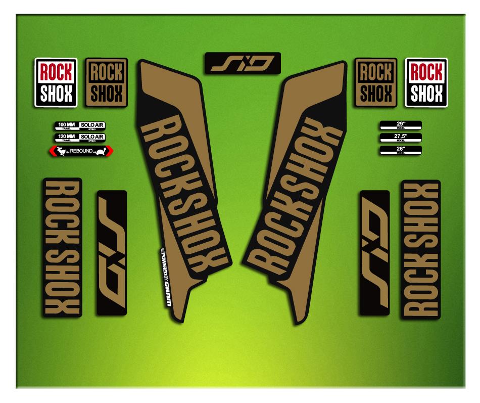 Autocollants fourche pour v/élo mod/èle Rock Shox SID Select 2021 Bike Rock Shox Fork Decals Original Jaune fluo